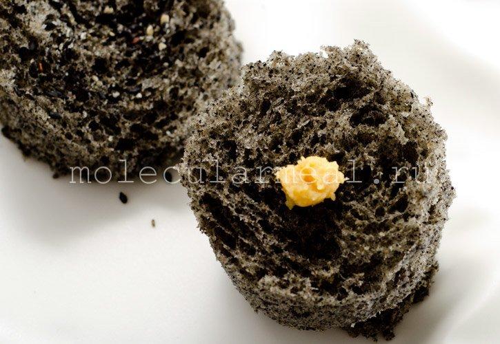 Молекулярная кухня. Кунжутное пирожное